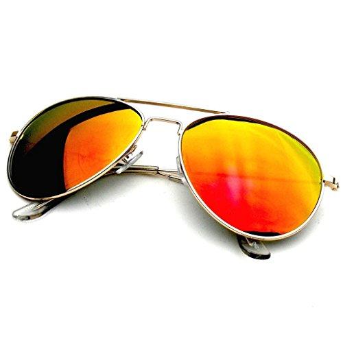 Aviator Sunglasses Mirror Lens New Men Women Fashion Frame Retro Pilot (Mirrored Lenses | Red Fire, 0)