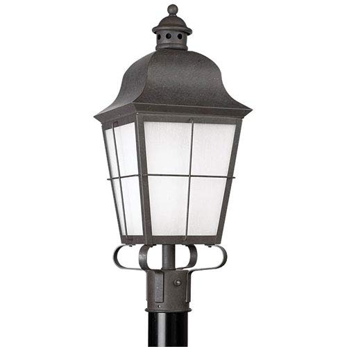 (Sea Gull Lighting 82973BL-46 1-Light Chatham Outdoor Post Lantern, Oxidized Bronze Finish with Frosted Seeded Glass)