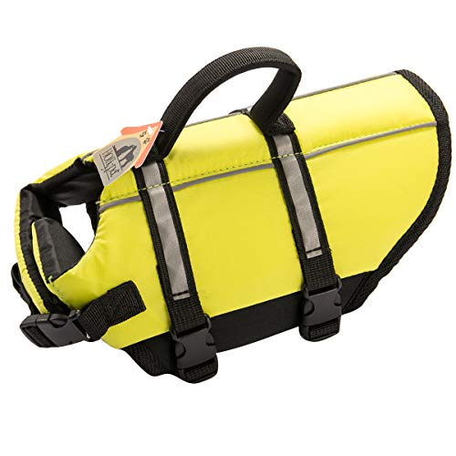 Hollypet Dog Life Jacket Adjustable Dog Lifesaver Safety Reflective Vest Pet Life Preserver with Rescue Handle XS Neon Yellow