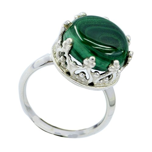 Jewelryonclick Real Round Malachite Silver Wedding Rings For Women Prong Style In Size 5,6,7,8,9,10,11,12 ()