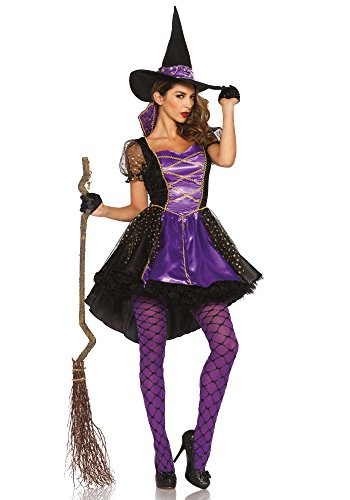 Leg Avenue Women's Crafty Vixen Witch Costume, Black/Purple, -