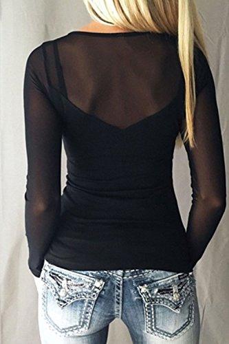 Mujeres Mesh Patchwork Camiseta De Manga Larga De Ver A Través De Tops Black