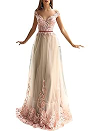 Womens Off Shoulder Prom Dresses V-Neck Backless Formal Evening Gown