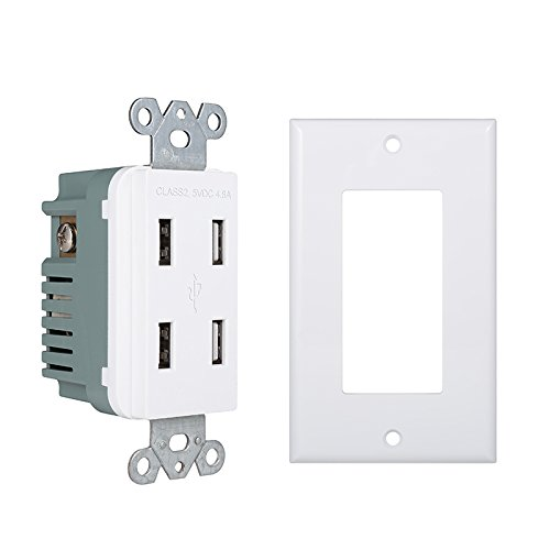 (Pack of 10) 4-Port USB Power Outlet - UL Listed High Speed Dual USB Electrical Wall Outlet - Four 3.1A USB Ports - Wall Plate Included - Fast Charging by Dependable Direct