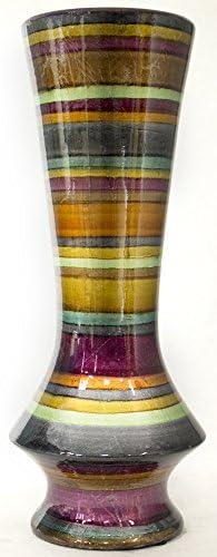 Heather Ann Creations Modern Ceramic Stripe Floor Vase, 20 , Gray Gold Maroon Orange