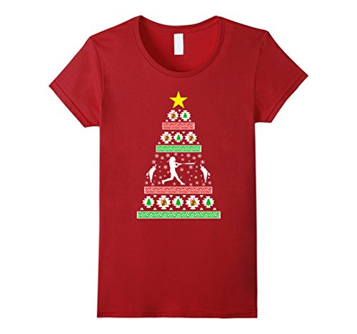 Women's Woman Softball gifts idea ugly christmas sweater look  Large Cranberry