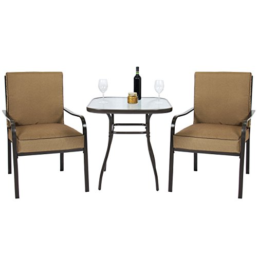 Best Choice Products 3pc Outdoor Patio Bistro Set W/Glass Top Table, 2 Chairs W/Cushions For Sale