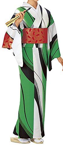 踊り衣裳 反物 波印 モダン小紋着尺 緑×白?黒 レディース 洗える着物