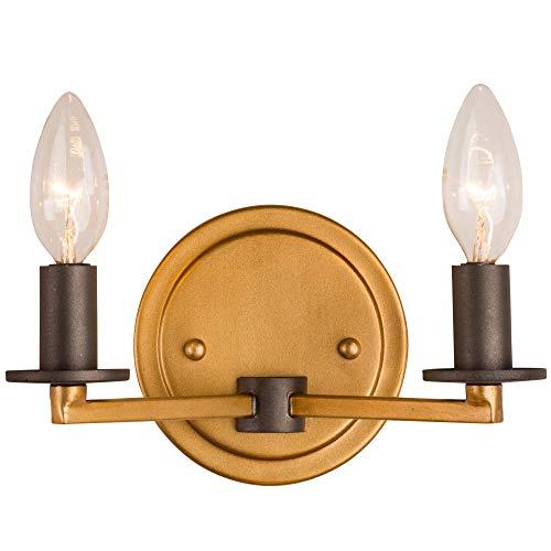 - Rogue Décor 610410 Elwood 2-Light Bath Fixture - Antique Gold with Rustic Bronze Accent