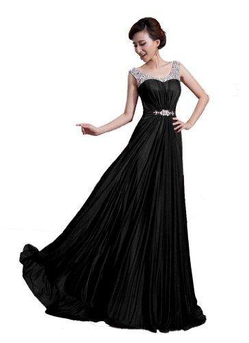 DLFASHION Scoop Neck Sweep Train Beaded Chiffon Prom Dress L-12 (A-line Scoop Sweep)
