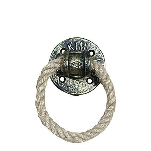 - Cabinet Handles Door Pulls Industrial Rustic Wooden Door Handle | Black Solid Cast Iron + Braided Hemp Rope Circle Ring Metal Pull Handles, Screw Mounted Drawers Bedroom Furniture Handles