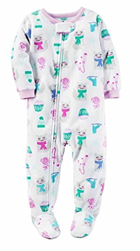 Carters Girls 1 Piece Footed Sleeper Blanket Zip Up Soft Fleece Sleepwear Pajama (4T, White Cupcake)