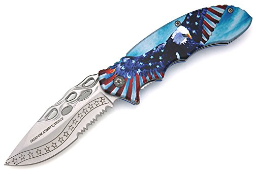 Snake Eye Tactical In God We Trust Freedom, Liberty, Justice American Flag Aluminum Handle Assisted Opening Pocket Knife Self Defense Everyday Carry (SF4)