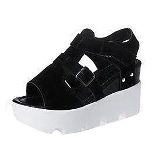FEITONG De las mujeres Sandalias De Verano Zapatos Peep-toe High Zapatos Sandalias romanas Señoras Dar la vuelta Flops Sandalias Negro