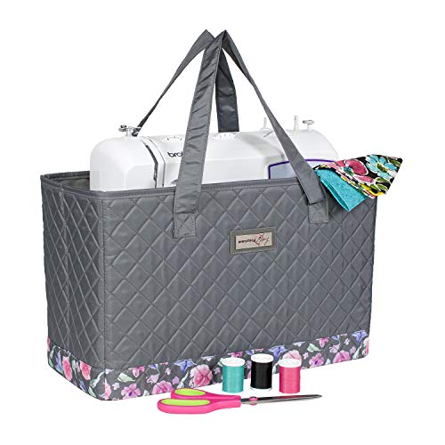 (Everything Mary Deluxe Quilted Floral Sewing Machine Carrying Case - Sewing Machine Cover Case Tote Bag for Brother, Singer, Standard Size Machines - Sewing Bag with Handles for Travel)