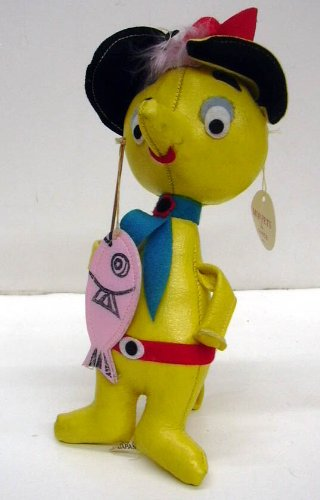 Sarco Mop-Pets yellow animal fisherman ca 1950s w/ original tag from The Jumping Frog