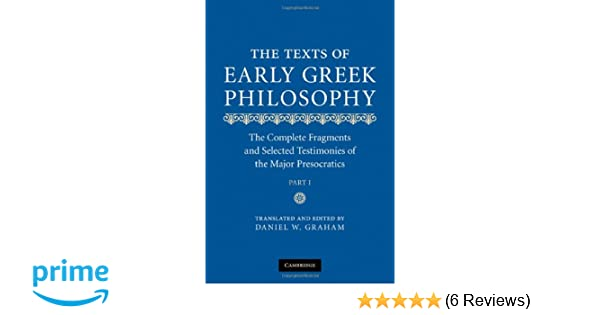 Amazon The Texts Of Early Greek Philosophy 2 Volume Set The