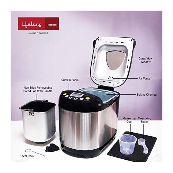 Lifelong Atta and Bread Maker 550 Watt (19 Pre-Set Menu with Adjustable Crust Control) 5