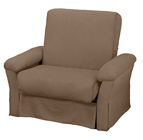 Tango Perfect Sit & Sleep Pocketed Coil Inner Spring Pillow Top Sofa Sleeper Bed, Chair-size, Microfiber Suede Mocha Brown Upholstery