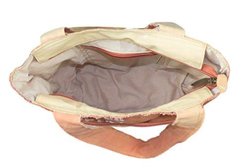 de tela señora Vintage 51875 de hombro bolso tela Bolso mano Sunsa de cuero compra con Bolso hecho de zgT6A