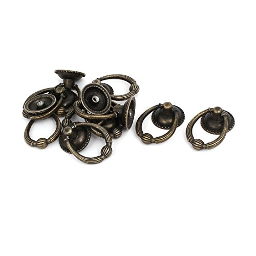 uxcell Cabinet Dresser Single Hole Round Zinc Alloy Ring Pull Handles Knobs 10PCS (Ring Pull Zinc)