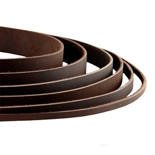 AURORIS - Lederband flach dunkelbraun Breite wählbar 2/3/4/5/8/10/15/20/25/30 mm - Variante: Breite 15mm / Länge 1m