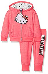 Hello Kitty Baby Girls\' 2pc Hoodie and Pant Set, Neon Heather Coral, 24 Months