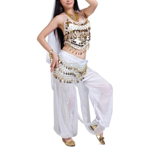 BellyLady Egyptian Belly Dance Costume, Halter Bra Top and Tribal Harem Pants WHITE