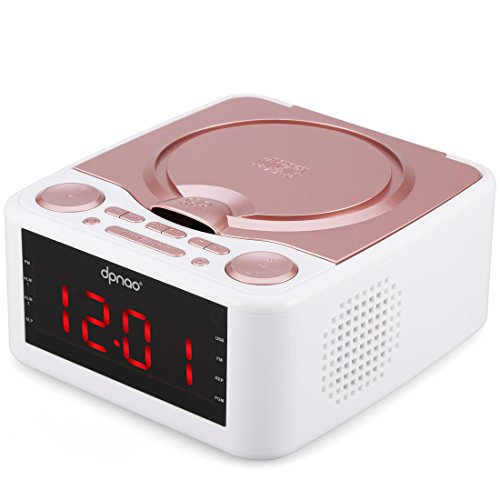 DPNAO CD Player with USB FM Radio Clock Dual Alarm Remote Headphone Home Audio System for girl kids(Rose)