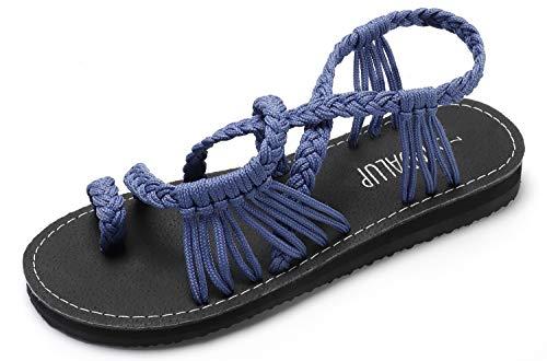 Walking Summer Blue Sandal Ring Handmade Flat SANDALUP Toe Braided Sandals W0Y4ZqA
