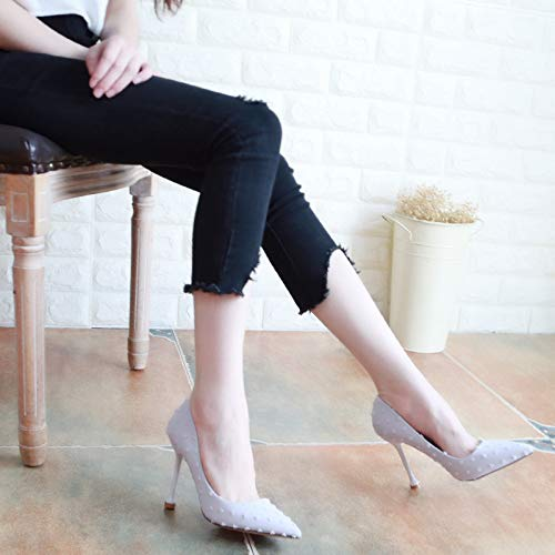 Thirty And Joker Autumn 10Cm Shoes Thin KPHY Cat Thin Shoes Five Pointed High Gray Shallow Heel Shoes Black q0Uxwx