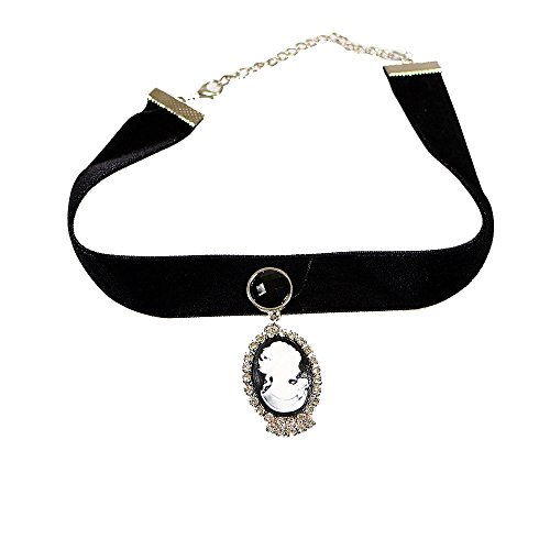 [Yazilind Black Lace Victorian Cameo Lolita Length Collar Necklace 12.48in] (Cameo Choker Necklace)