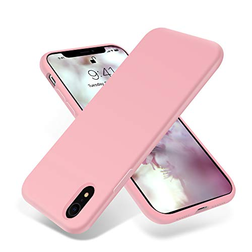 for iPhone XR Case, OTOFLY [Silky and Soft Touch Series] Premium Soft Silicone Rubber Full-Body Protective Bumper Case Compatible with Apple iPhone XR - Pink ()
