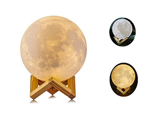 Night Light 3D Printing Moon Lamp, Touch Switch Color Changing USB Rechargeable Lunar Light Dimmable Table Lamp with Wooden Mount,Kids Room Home Decor Christmas Gift, Diameter (3.9inch) SUOMEI