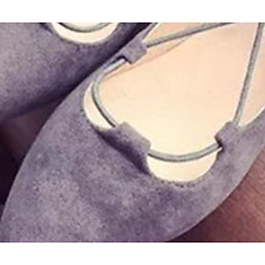LvYuan Tacón Plano-Confort-Sandalias-Vestido Informal-PU-Negro Gris Black