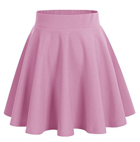 Dresstells®Falda Mujer Mini Corto Elástica Plisada Básica Multifuncional rosa