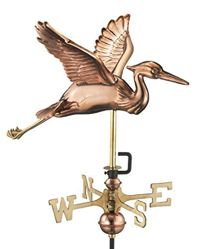 Good Directions Blue Heron Garden Weathervane with Garden Pole, Pure Copper
