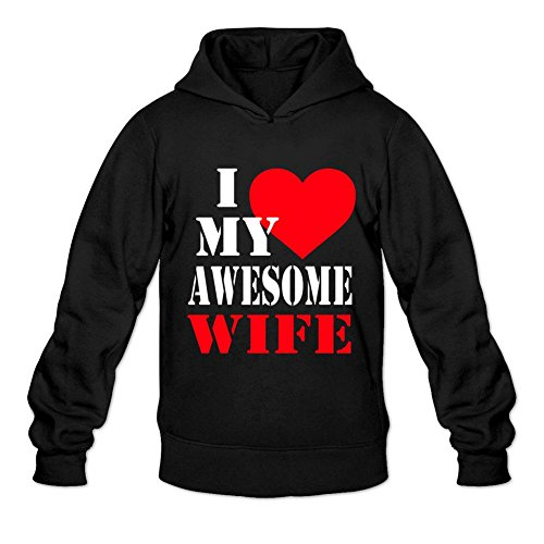 Yhdjk Men's I Love My Awesome Wife Hoodie Black M