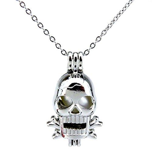 Silver Skull Locket Necklace - 5