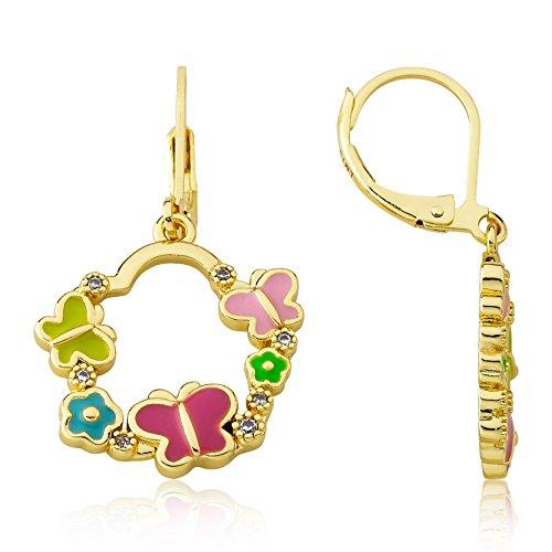 Little Miss Twin Stars Girl's 14k Gold Plated Enamel Cut Out Dangle Leverback Earring