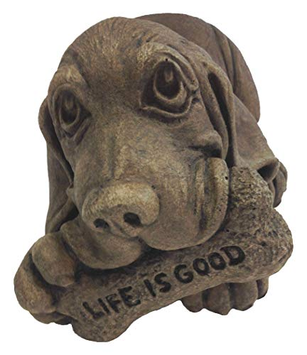 Massarelli's 'Life is Good' Basset Hound Puppy Dog Solid Cast Stone Garden Statue - Great Gift Idea - Durable, Lifelike Sculpture for Home and Yard - Fun Exterior and Interior Art (Stone Dog Cast)