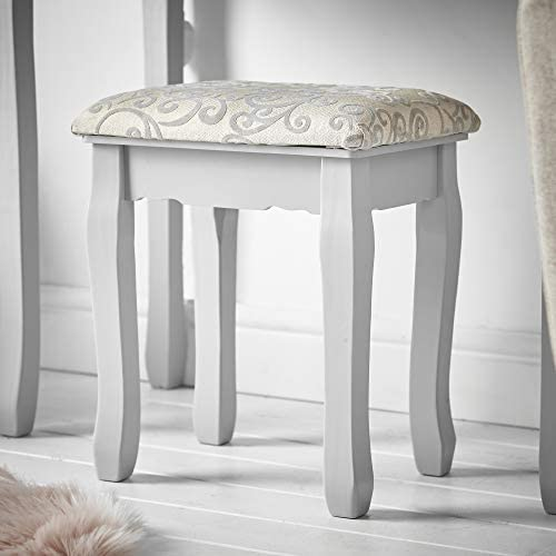 CARME Ruby Rozanna - Grey Dressing Table with Hollywood Mirror LED Lights 10 Bulbs 5 Drawers Stool Set