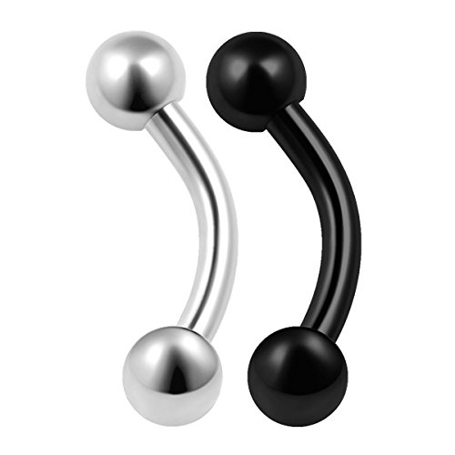 2PCS Surgical Steel Black Curved Barbell 16 gauge 1/4 6mm 3mm Ball Lobe Earrings Rook Conch Helix Piercing Jewelry 0185