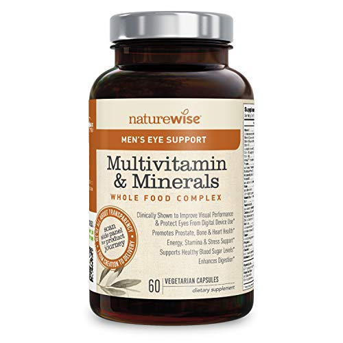 NatureWise Men's Whole Food Multivitamin with Eye Support | Vitamins, Minerals, Organic Whole Foods + Lutemax 2020 to Protect & Improve Vision (⬇ Watch Video in Images) [1 Month - 60 Count]