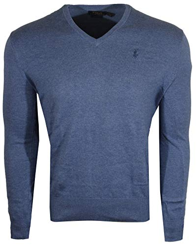 Polo Ralph Lauren Mens Pima Cotton V-Neck Sweater (Large, Blue Heather (Blue Pony))