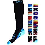 Compression Socks (1 pair) for Men & Women - BEST for Running, Nurses, Shin Splints, Flight Travel, Maternity Pregnancy - Boost Athletic Stamina, Circulation & Recovery (i-Blue, Small/Medium)