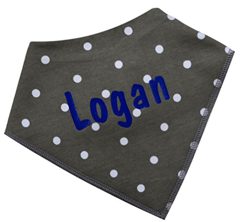 (Bandana Bib for Babies Personalized with Custom VINYL Text - CUSTOMIZABLE (Gray with White Dot))