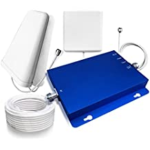 Sanqino 2G/3G/4G Cell Phone Signal Booster Gain 65dB Band 2 and Band 5 Dual Band Signal Repeater Blue Signal Amplifier for 2G/3G Verizon, 2G/3G AT&T, Sprint, T-Mobile and etc. …