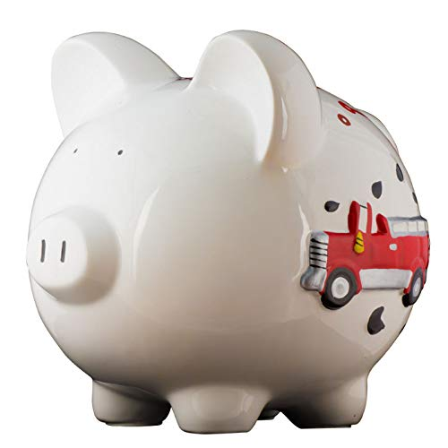 Firetruck Boys Piggy Bank - Large - (Personalized & Custom With Name And Year) (First Financial Toy For Teaching Boys & Girls About Saving Money) (Perfect Unique Gift Idea For Babys 1st Birthday) by HolidayTraditions (Image #7)