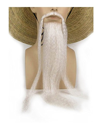Men's Fu Manchu Beard and Adhesive Costume Accessory (White)